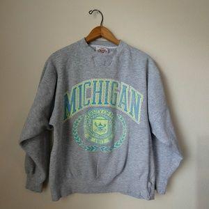 Michigan Retro Neon Sweatshirt- Worn Vintage Style